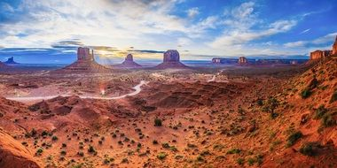 scenic desert landscape with red rock formations, usa, Utah, Monument Valley