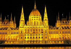 view from the danube to the parliament in budapest at night