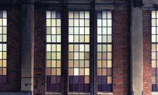 large windows with glass on an old building