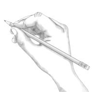Drawing of the pencil in the hand