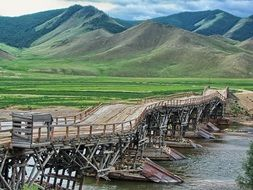 wooden road bridge in Mongolia