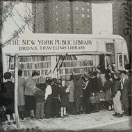 Vintage photo bookmobile in New York