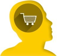Icon shopping cart in your head drawing