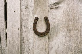 horseshoe hanging on the wall