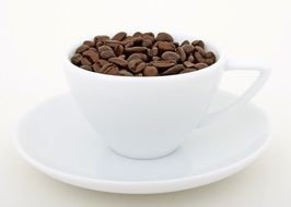 aromatic coffee beans in the cup