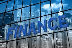 Finance sign on the window of the building