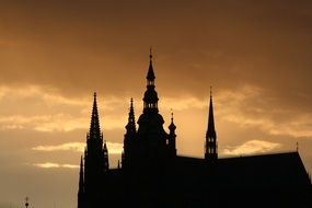 silhouette of Prague Castle at sunset