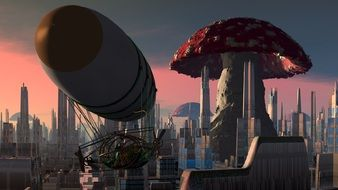 airship near a big mushroom in a fairytale city