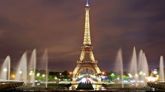 Eiffel Tower Lights and fountains