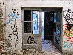 doors with a window in an abandoned factory