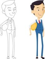 Asian Business man drawing