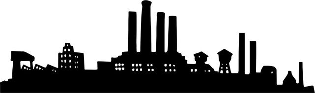 black silhouette of industrial urban area