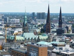 historical buildings in modern city, germany, Hamburg