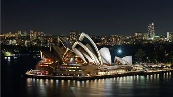 Sydney opera house in thr night harbor