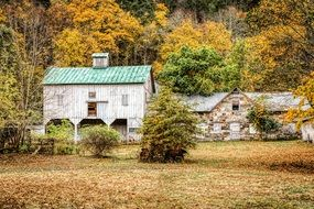 house and barn amidst a bright autumn landscape