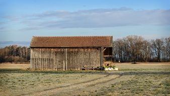 barn on the field
