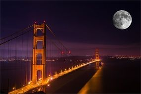 Golden Gate Bridge and full moon