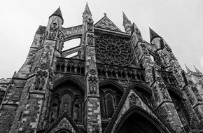 black and white photo of a medieval cathedral