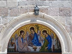 holy trinity, painting on wall of aged Church, Montenegro, Budva