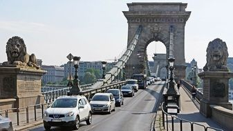 traffic Jam on Chain Bridge, hungary, Budapest