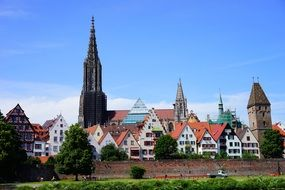 Ulm Cathedral against the backdrop of city panorama in Germany