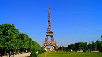 Eiffel Tower at summer park, France, Paris