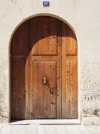 wooden entrance door to the house