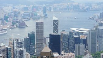 Hong Kong panorama view from a helicopter