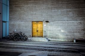 yellow Wooden doors in the wall