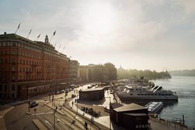 panorama of the grand hotel on the embankment of stockholm