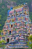 religion hindu temple painted with lots of colors