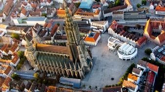 aerial view of Ulm Cathedral