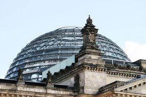 Bundestag Building glass dome at sky, germany, Berlin