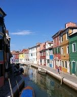 bright colorful houses Facades at canal, italy, venice, burano