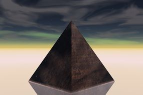 the dark pyramid with its reflection