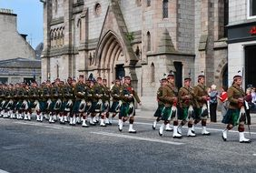young soldiers in kilts on parade, uk, Scotland, Aberdeen