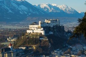 fortress at sunrise in Salzburg