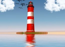 lighthouse in the ocean background