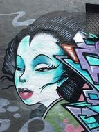 face of japanese woman, Graffiti, Street Art