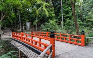 Bridge with red railings in Kyoto
