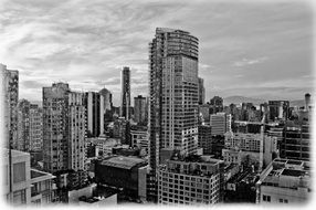 black and white panorama of vancouver