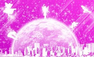 mystical city in a soap bubble and fairies on a pink background