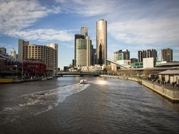 panoramic view of the south wharf among the skyscrapers in Melbourne