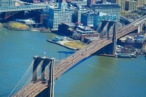 New York city brooklyn bridge view from above