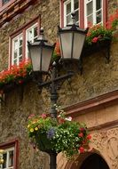 street lamp with floral decorations