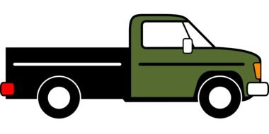 green pickup on a white background