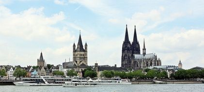 Cologne Cathedral by the river in Germany