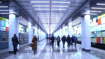 People in Rumyantsevo Metro station, russia, moscow