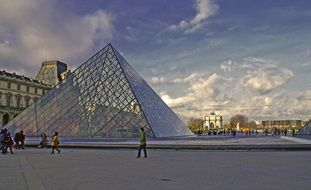 metal pyramid Louvre France