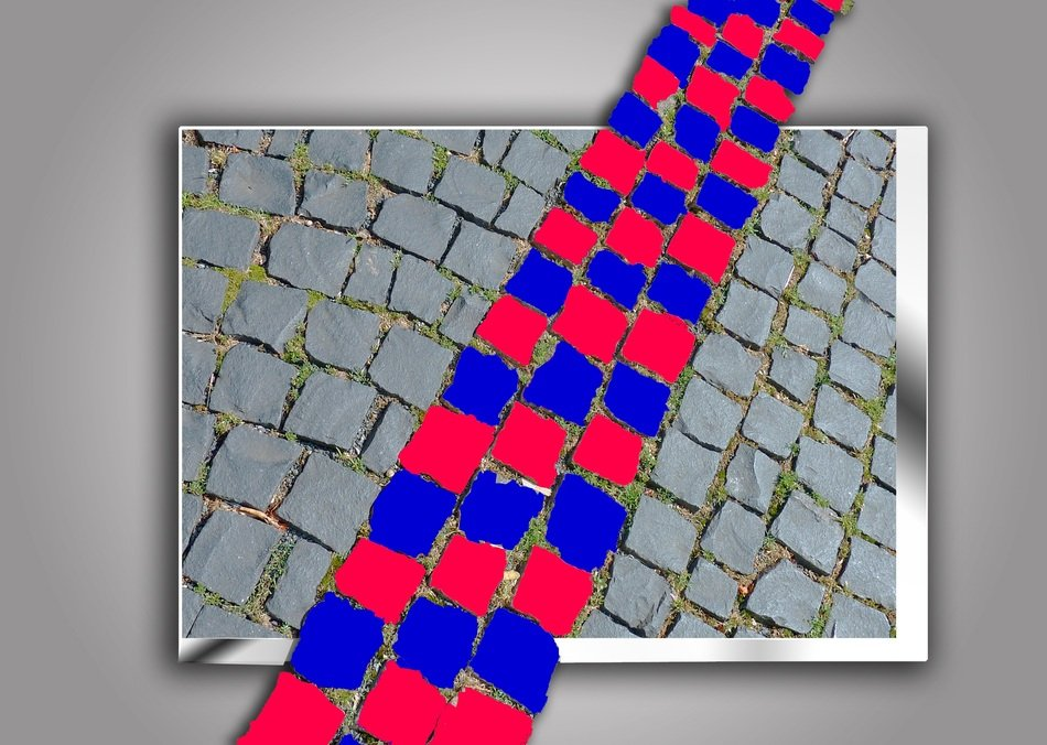 red and blue cobblestones